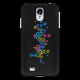 """Чехол для Samsung Galaxy S4 """"Психоделика 2"""" - пузырьки, цвет, абстракция, чёрный фон"""
