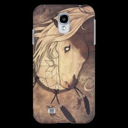 """Чехол для Samsung Galaxy S4 """"Кожаный ветер."""" - лошадь, horse, ловец снов, dreamcatcher"""