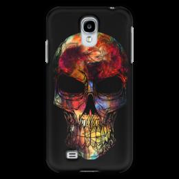 """Чехол для Samsung Galaxy S4 """"Череп в цветах"""" - череп, цветы, радуга, ckull"""
