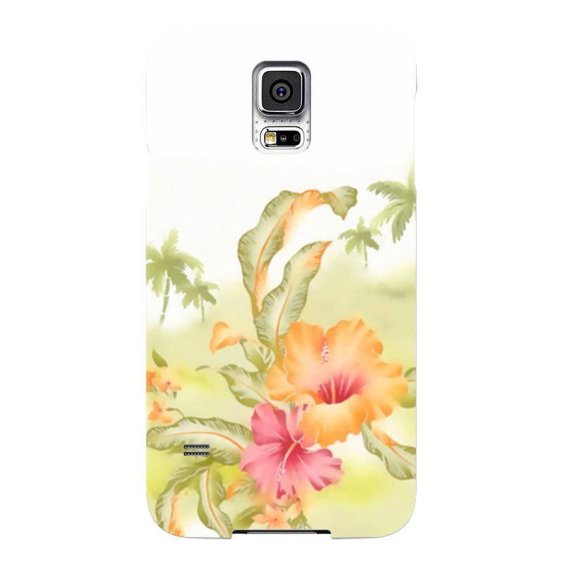 Чехол для Samsung Galaxy S5 Printio Тропические цветы, пальмы.