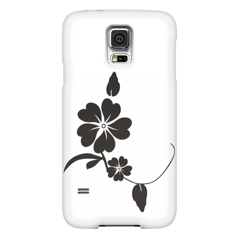 Чехол для Samsung Galaxy S5 Printio С черным цветком samsung g900h galaxy s5 16гб белый в омске