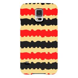 """Чехол для Samsung Galaxy S5 """"Полоски с рванными краями"""" - полоска, черный, красный, бежевый, рванный"""