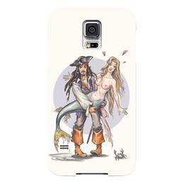 "Чехол для Samsung Galaxy S5 ""Пират и русалка."" - юмор, пират, рыбалка, капитан, русалка, джек воробей, пираты карибского моря, mermaid, pirates of the caribbean"