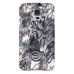 """Чехол для Samsung Galaxy S5 """"Хлопья снега"""" - новый год, снег, поздравление, 2017, красивый шрифт"""