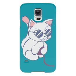 "Чехол для Samsung Galaxy S5 ""Котенок с клубком"" - кот, кошка, котенок, очки, клубок"