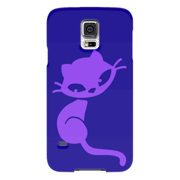 """Чехол для Samsung Galaxy S5 """"Кошечка"""" - кот, фиолетовый, синий, кошечка, сидит"""