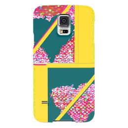"""Чехол для Samsung Galaxy S5 """"Инверсия сердца"""" - сердце, сердца, желтый, зеленый, розовый"""