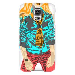 """Чехол для Samsung Galaxy S5 """"Шейный платок"""" - девушка, оранжевый, красный, галстук, бирюзовый"""