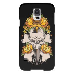 """Чехол для Samsung Galaxy S5 """"Череп"""" - череп, цветы, нож, оружие, паутина"""