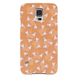 """Чехол для Samsung Galaxy S5 """"Котенок с клубком"""" - кот, сердечко, котик, рыжий, клубок"""