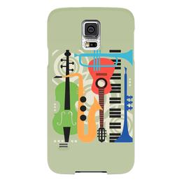 """Чехол для Samsung Galaxy S5 """"Музыкальные инструменты"""" - музыка, гитара, скрипка, инструменты, саксафон"""