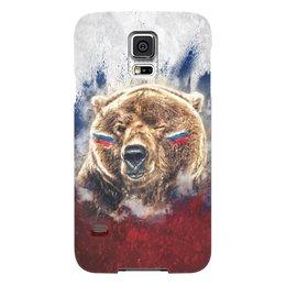 "Чехол для Samsung Galaxy S5 ""Русский Медведь"" - флаг, триколор, россия, футбол, медведь"