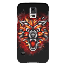 """Чехол для Samsung Galaxy S5 """"Wolf & Fire"""" - огонь, волк, fire, дым, wolf"""