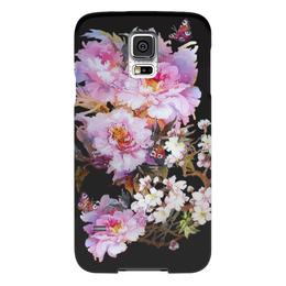 """Чехол для Samsung Galaxy S5 """"Цветочная акварель."""" - бабочки, цветы, flowers, акварель, живопись"""