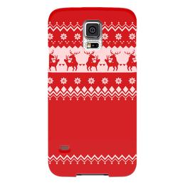 """Чехол для Samsung Galaxy S5 """"Олени праздничные"""" - любовь, новый год, животные, красное, олени"""