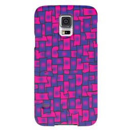 """Чехол для Samsung Galaxy S5 """"Прямоугольники"""" - черный, красный, синий, край, прямоугольник"""