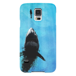 "Чехол для Samsung Galaxy S5 ""Охота"" - животные, человек, синий, рыбы, sea, акула, shark, фэнтази, фентази"