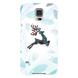 """Чехол для Samsung Galaxy S5 """"Северный арт"""" - праздник, новый год, олень, прыжок"""