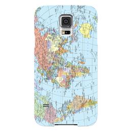 """Чехол для Samsung Galaxy S5 """"Карта мира"""" - мир, страны, карта, политика, география"""