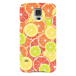 """Чехол для Samsung Galaxy S5 """"Цитрусы"""" - апельсин, лайм, лимон, грейпфрут, дольки"""