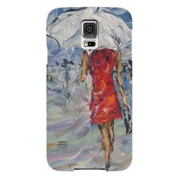 """Чехол для Samsung Galaxy S5 """"Девушка в красном"""" - для любимой, живопись, под дождем, в городе, белый зонт"""