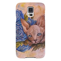 """Чехол для Samsung Galaxy S5 """"Синий Сфинкс """" - кот, цветы, рисунок, розы, сфинкс"""