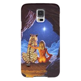 """Чехол для Samsung Galaxy S5 """"девушка с тигром"""" - девушка, звезда, тигр, пещера"""