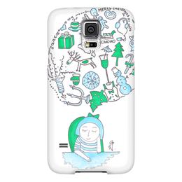 """Чехол для Samsung Galaxy S5 """"Новый год на носу"""" - праздник, настроение, мечты, девушке, рождество, снежинки, new year, шампанское, уют, панель"""
