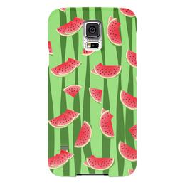 """Чехол для Samsung Galaxy S5 """"Арбуз"""" - полоска, красный, ягода, зеленый, семена"""