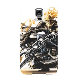 """Чехол для Samsung Galaxy S5 """"Скелет"""" - череп, скелет, огонь, мотоцикл, гонщик"""