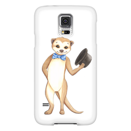 """Чехол для Samsung Galaxy S5 """"Вежливый сурикат"""" - животные, шляпа, приветствие, зверек, сурикат"""