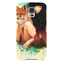 """Чехол для Samsung Galaxy S5 """"Девушка и Лис"""" - девушка, art, girl, abstract, лиса"""