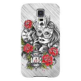 """Чехол для Samsung Galaxy S5 """"Девушка"""" - девушка, карты, часы, маска, розы"""