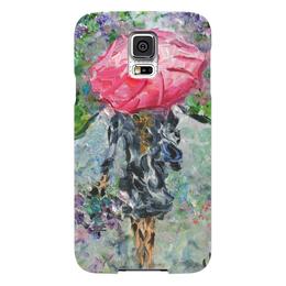 """Чехол для Samsung Galaxy S5 """"Запах дождя"""" - девушка, романтика, люблю, красивый подарок, красный зонт"""