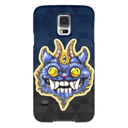 """Чехол для Samsung Galaxy S5 """"Кот с рогами"""" - глаза, зубы, третий глаз, рога, кот с рогами"""