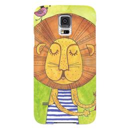 """Чехол для Samsung Galaxy S5 """"Лев Бонифаций в тельняжке"""" - лев, акварель, грива, бонифаций, тельняжка"""