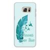 """Чехол для Samsung Galaxy S6, объёмная печать """"Dreams come true"""" - птицы, мечта, акварель, перо, dream"""
