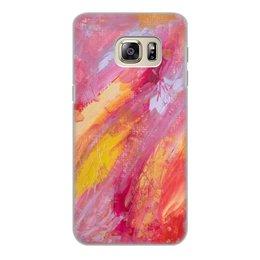 """Чехол для Samsung Galaxy S6, объёмная печать """"Цветы добра"""" - желтый, розовый, краски, абстракция, живопись"""