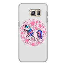 "Чехол для Samsung Galaxy S6, объёмная печать ""Unicorn"" - сердце, узор, звезды, орнамент, единорог"