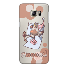 "Чехол для Samsung Galaxy S6, объёмная печать ""Mooood"" - сон, шоколад, корова, коровка, mooood"