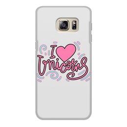 """Чехол для Samsung Galaxy S6, объёмная печать """"I love Unicorns"""" - сердце, надпись, розовый, единорог, леттеринг"""