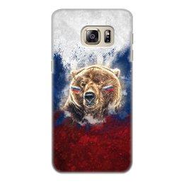 """Чехол для Samsung Galaxy S6, объёмная печать """"Русский Медведь"""" - флаг, триколор, россия, футбол, медведь"""