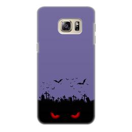 """Чехол для Samsung Galaxy S6, объёмная печать """"Взгляд оттуда"""" - хэллоуин, рисунок, взгляд, летучие мыши, кладбище"""