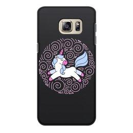"""Чехол для Samsung Galaxy S6, объёмная печать """"Unicorn"""" - узор, голубой, орнамент, розовый, единорог"""