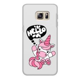 """Чехол для Samsung Galaxy S6, объёмная печать """"Unicorn"""" - привет, надпись, розовый, hello, единорог"""