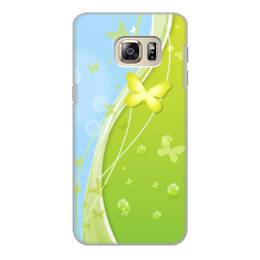 """Чехол для Samsung Galaxy S6, объёмная печать """"Летний мотив"""" - бабочки, лето, небо, трава, мыльные пузыри"""