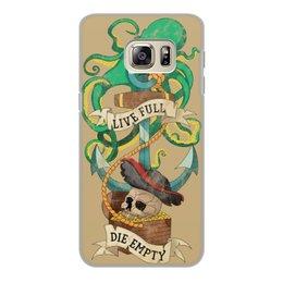 """Чехол для Samsung Galaxy S6, объёмная печать """"Осьминог"""" - череп, якорь, old school, татуировка, пират"""