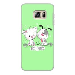 """Чехол для Samsung Galaxy S6, объёмная печать """"Друзья"""" - мультяшки, друзья, рисунок, щенок, котёнок"""