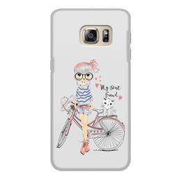 """Чехол для Samsung Galaxy S6, объёмная печать """"Девушка и котёнок"""" - девушка, велосипед, котёнок, друг"""