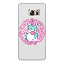 """Чехол для Samsung Galaxy S6, объёмная печать """"Unicorn"""" - сердце, узор, орнамент, розовый, единорог"""